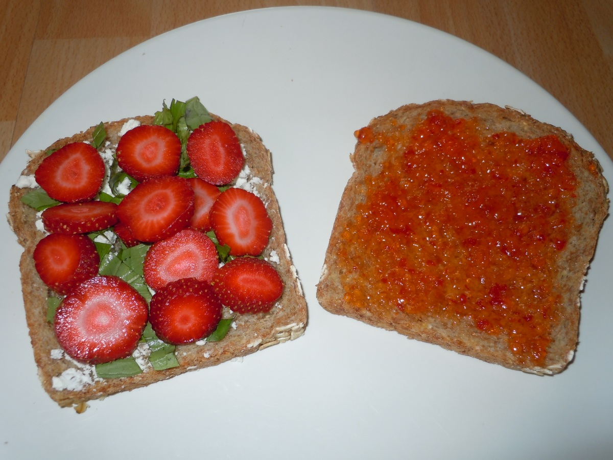 Strawberry and Goat Cheese on Sprouted Grain Bread