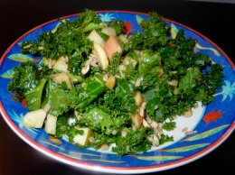 Kale/nut/apple salad with balsamic vinegar/maple syrup dressing